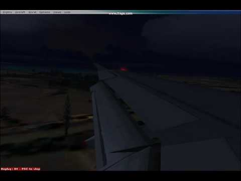 FSX Transasia Airways A321 Landing in the Evening at Makong Airport