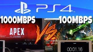 Downloading Apex Legends on PS4: 1000Mbps vs 100Mbps Internet