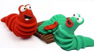 Colored caterpillars 💕Superhero Play Doh Stop motion cartoons for kids