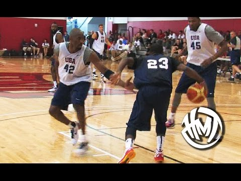 separation shoes 285b1 70af7 Kyrie Irving Crosses Kobe Bryant! Throwback USA Scrimmage Highlights