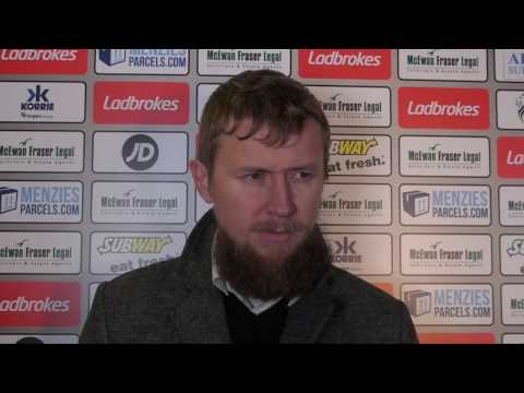 CaleyJagsTV : Richie Foran Match Reaction v Motherwell : 28/12/16