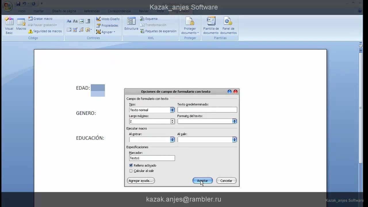 Como realizar un formulario sencillo con word 2007 - YouTube