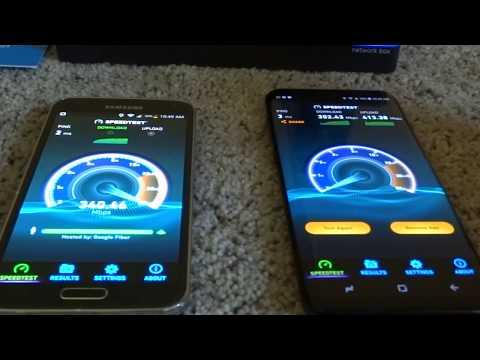 Galaxy S8+ wifi test with Google Fiber