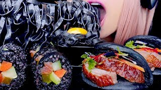 ASMR BLACK SUSHI, PASTA, BAO | Eating Sounds *No Talking* 먹방