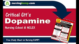 What is Dopamine used for Critical Care Gtt for Cardiac NCLEX MEDS Nursing KAMP 2019