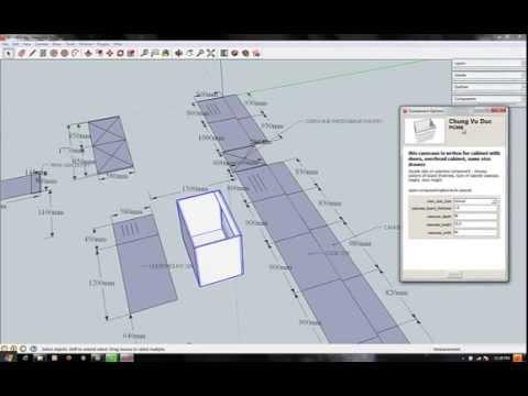 google sketchup dynamic components in designed kitchen. Black Bedroom Furniture Sets. Home Design Ideas