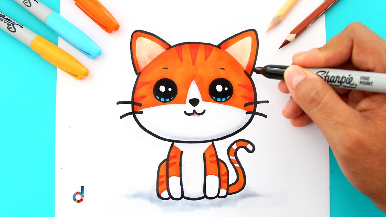 How To Draw A Cute Kitten Easy Cómo Dibujar Un Gatito Kawaii Fácil Youtube