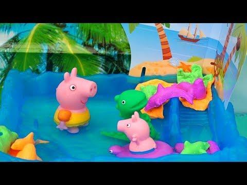Peppa Pig e George na Ilha Encantada - Brinquedos de Banho para Crianças -Brinquedonovelinhas
