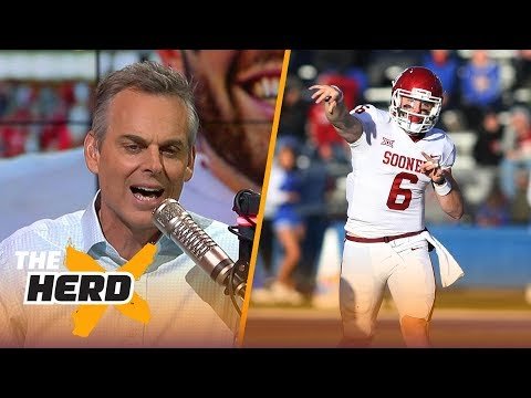Colin Cowherd reacts to Baker Mayfield's antics vs Kansas, Rosen's game vs Darnold | THE HERD