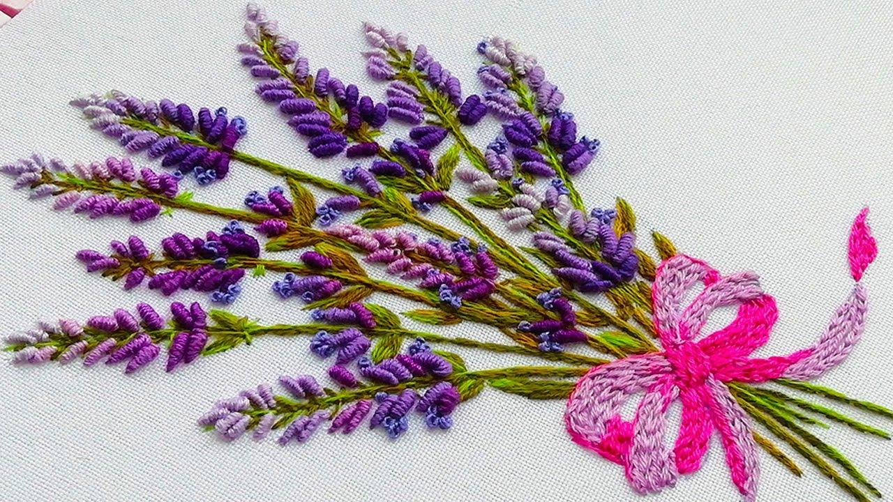 Hand Embroidery: Lavender flowers | Вышивка: Цветы Лаванды