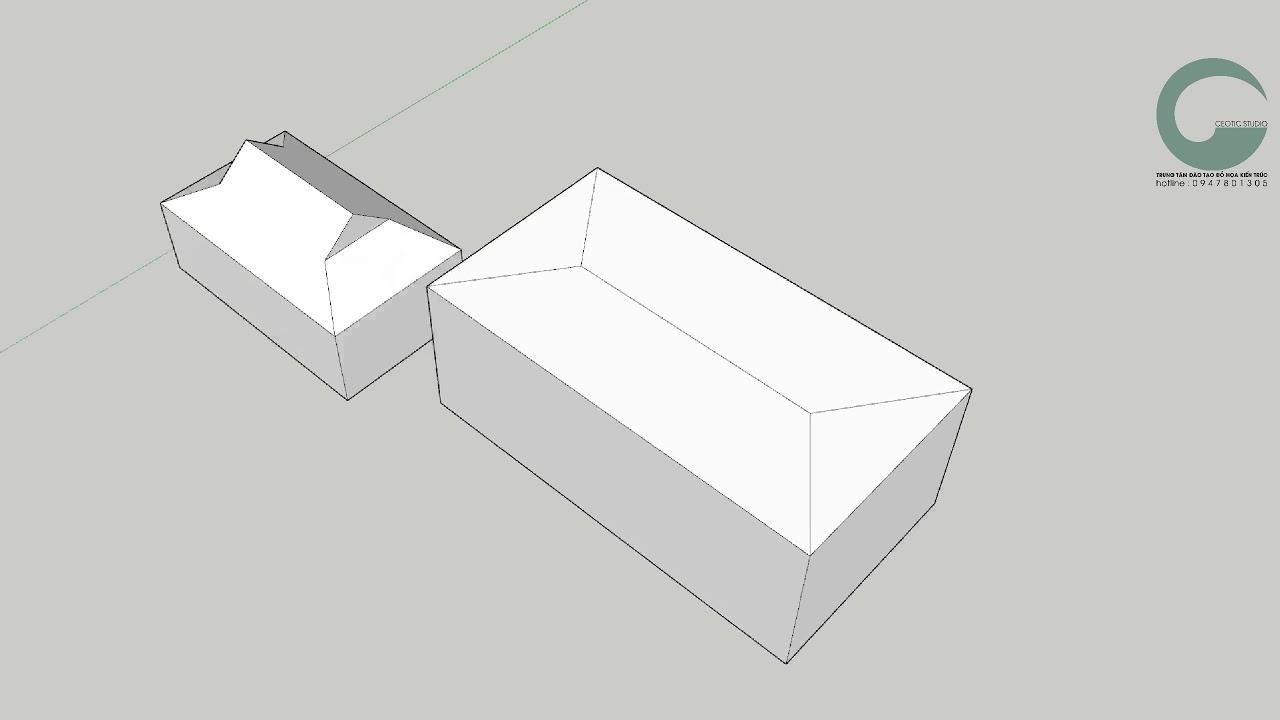 Hướng dẫn vẽ mái dốc chéo trong Sketchup