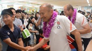 前日本代表ヘッドコーチで現在はイングランド代表を率いるエディ・ジョーンズ監督が宮崎市を訪問。2019年ラグビーワールドカップ(W杯)...