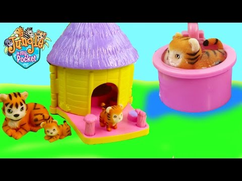 Thumbnail: Mom & Baby Tigers Bath Water Play Playset Hut House Jungle In My Pocket Cookieswirlc Unboxing