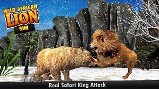 wild african lion sim 3d real safari king hunting deer on snow mountains in winter iphone ipad