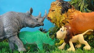 Мультфильмы про животных ЛЕВ и НОСОРОГ Детский канал