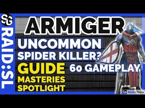 RAID SHADOW LEGENDS   ARMIGER lvl 60 SPIDER GAMEPLAY GUIDE MASTERIES SPOTLIGHT