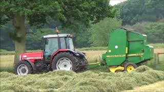 Baling Grass for Haylage with Massey 6180 & JD baler