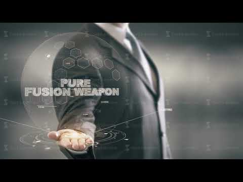 Pure Fusion Weapon with hologram businessman concept