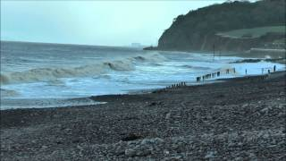 (HD) Blue Anchor at High Tide between spells of rain. Sun 9th February 2014