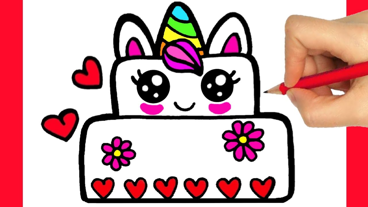 How To Draw Birthday Cake Easy Step By Step Come Disegnare Una Torta Di Compleanno Dibujos Kawaii Youtube