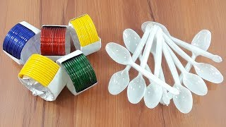New bangles & Plastic spoon craft idea | best out of waste | Plastic spoon reuse idea
