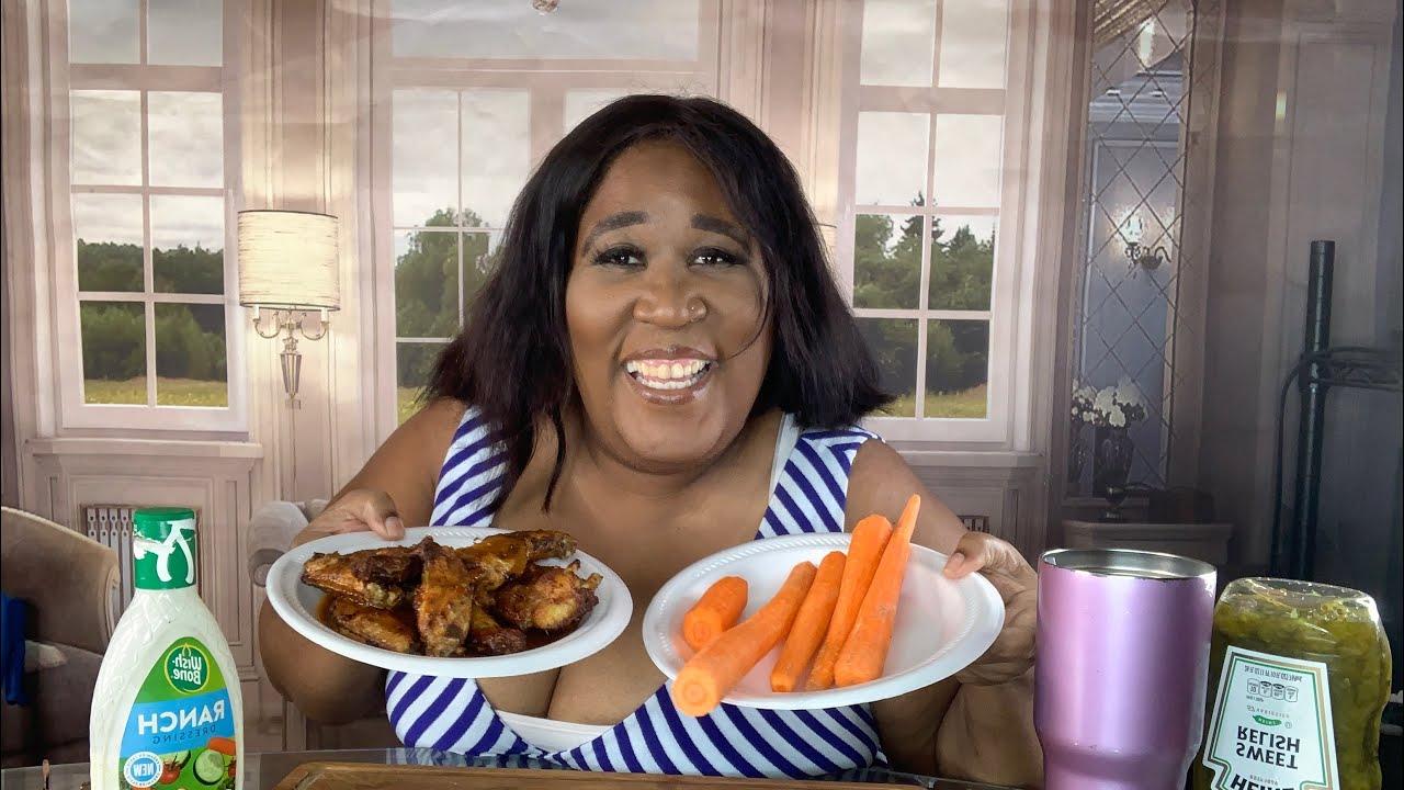 Chicken Wings & Carrots Mukbang| Eating Show #Ketofriendly, #Chickenwings, #Healthy, #Mukbang,