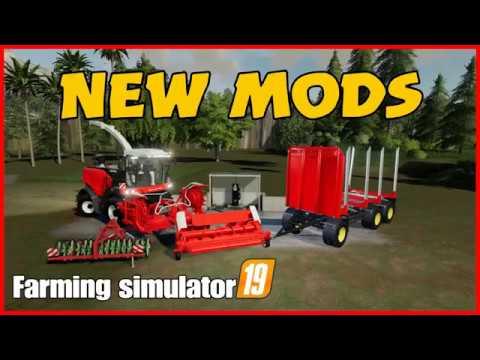 farming simulator 19 new mods fliegl log trailer,rostselmash forage  harvester pack,fuel station