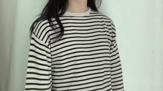 [DAILYJOU] 이브닝 스트라이프 라운드 티셔츠 -…