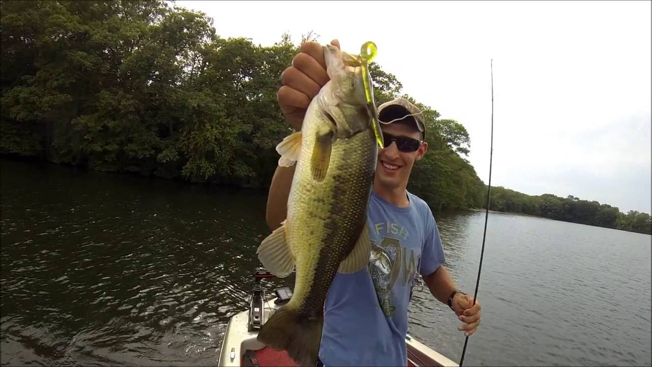 Dominating huge summer bass on amos lake bass fishing for Best worms for fishing