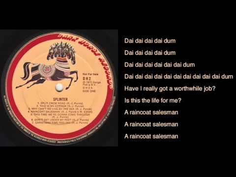 Splinter - Raincoat Salesman lyrics - Dark Horse Records promo LP