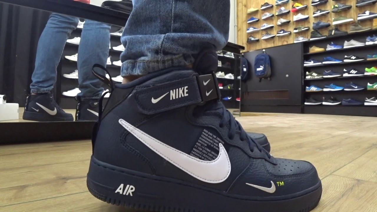 ONFEET Nike Air Force 1 Mid LV8 Navy (804609-403) Review - YouTube 1a1d021cd