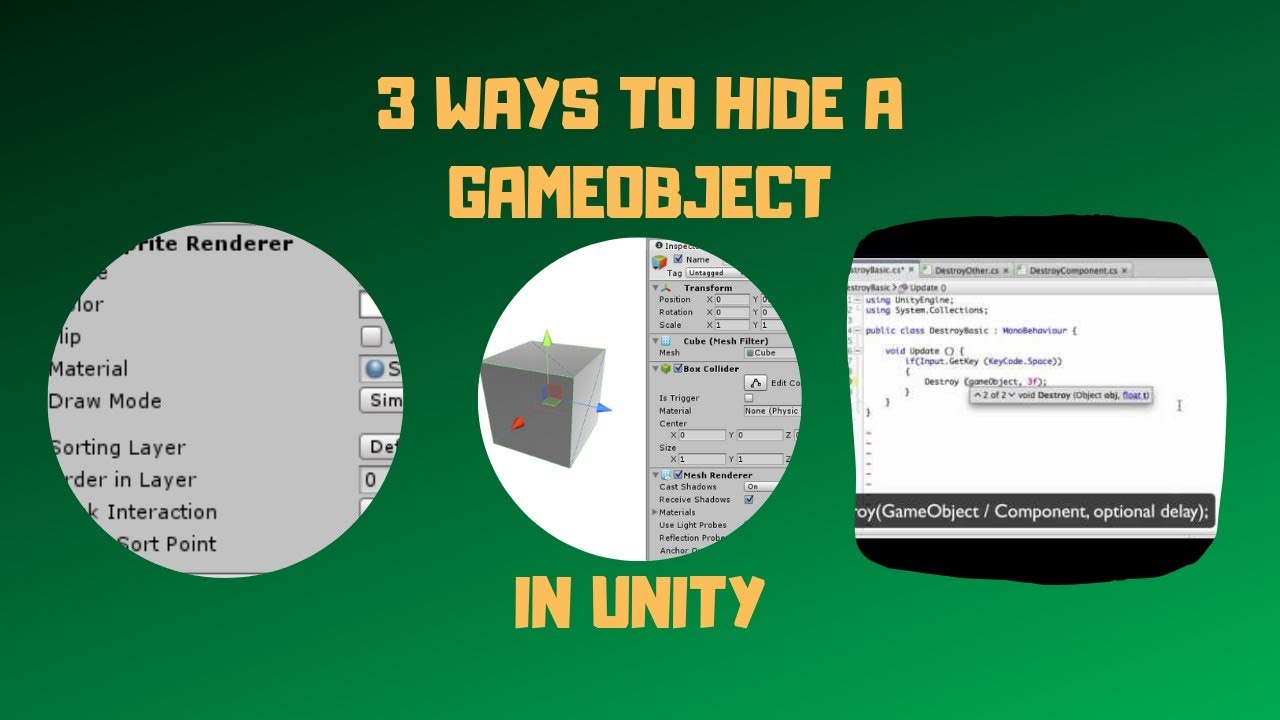 3 Ways To Hide A GameObject In Unity | Easy Unity Tutorial