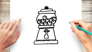How to Draw a Gumball Machine Step by Step