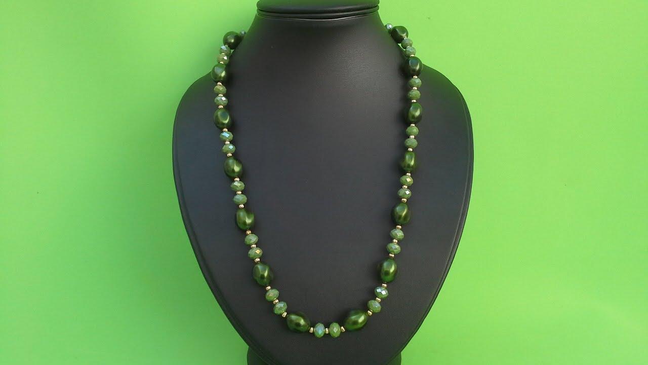 Como hacer un collar con perlas facil y bonito youtube for Como hacer color piedra