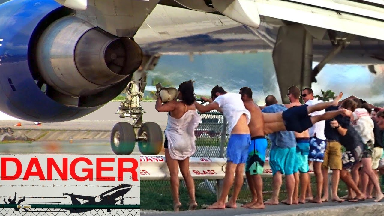 8 spectacular & dangerous Jet Blast Videos from Maho Beach at St. Maarten with different aircraf