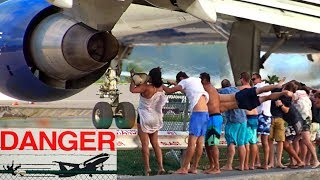8 spectacular & dangerous Jet Blast Videos from Maho Beach at St. Maarten with different aircraft