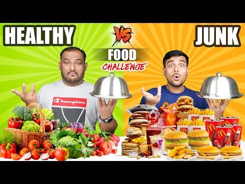 HEALTHY VS JUNK FOOD EATING CHALLENGE | Burger & Pizza Eating Competition | Food Challenge thumbnail