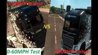 ETS2 | Scania S730 Vs Volvo FH750 | 0-60MPH Test | Does BHP Matter??