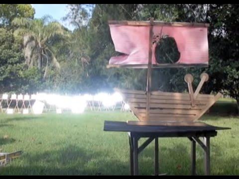 Archimedes Death Ray Solar Parabolic Mirror burns a fake Roman Ship