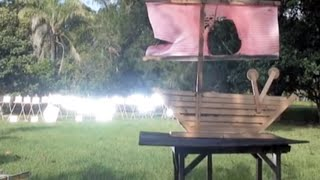 Archimedes Death Ray Solar Parabolic Mirror burns a fake Roman Ship