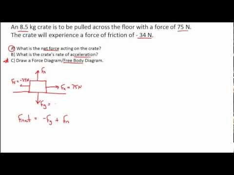 NET FORCE PRACTICE PROBLEMS (PART 3)- Calculating the Net Force, F = ma,  Free Body Diagram