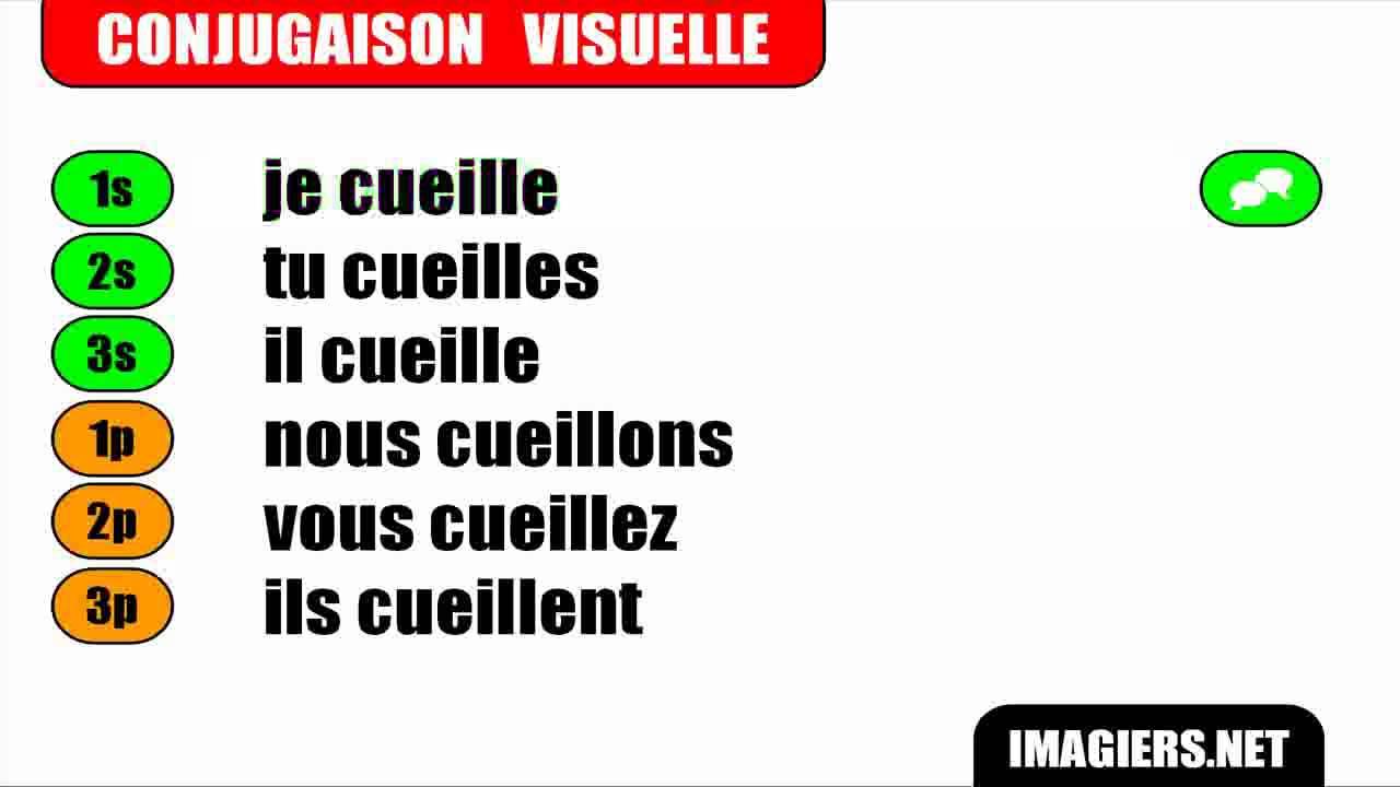 Conjugaison Indicatif Present Verbe Cueillir Youtube
