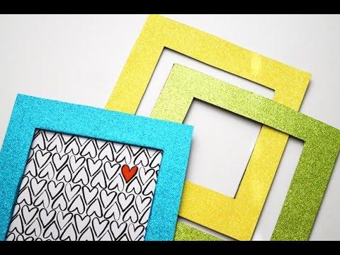 diy glitter frame cardboard youtube. Black Bedroom Furniture Sets. Home Design Ideas