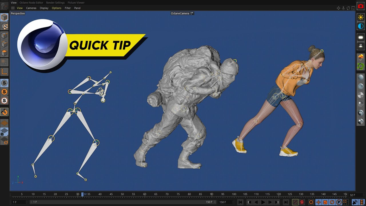 C4D QuickTip   Add ANY 3D Character to ANY Motion Capture Data
