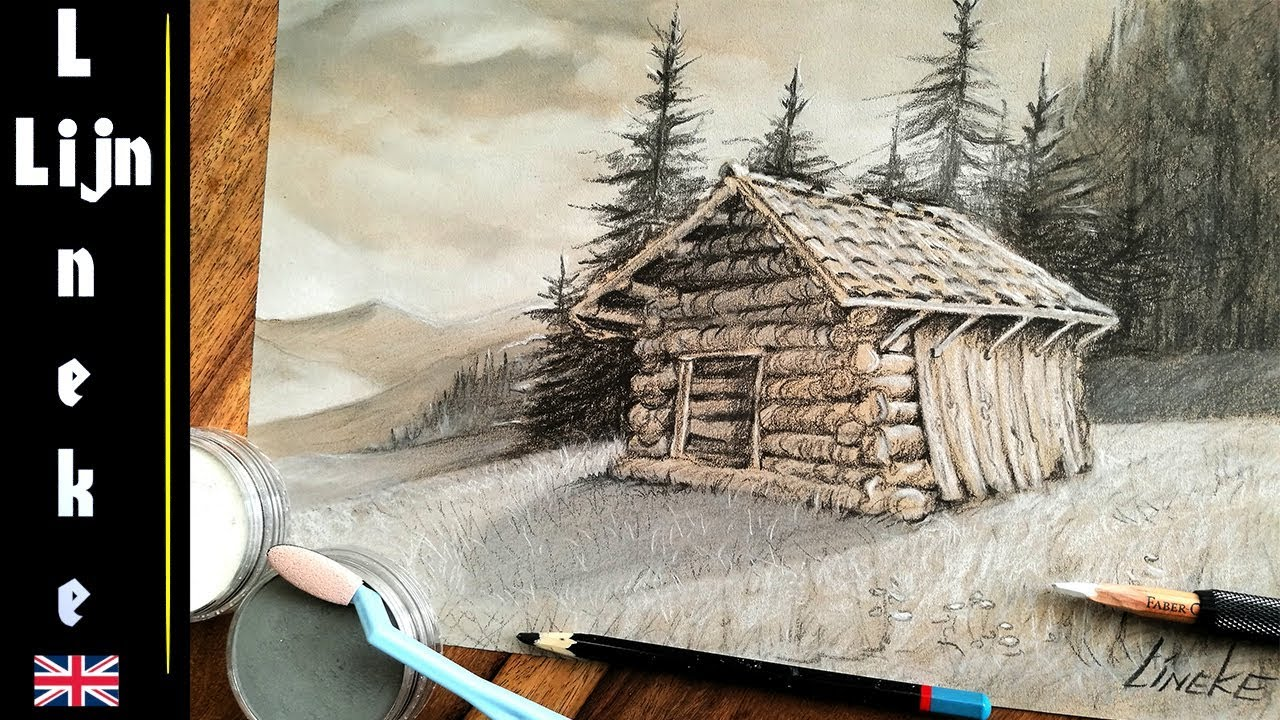 Easy CABIN for beginners Charoal Pencil drawing - YouTube