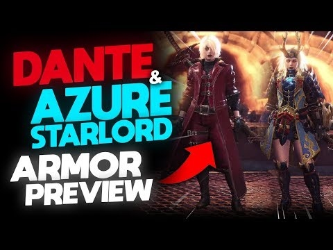 *DANTE + AZURE STARLORD GEAR PREVIEW* | Devil May Cry Crossover / USJ Items | Monster Hunter: World