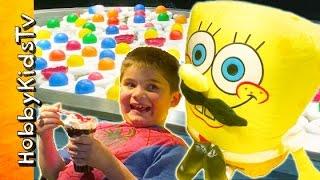 SpongeBob Mustache Pants! Ball Toss Challenge Game at Arcade for Prize HobbyKidsTV