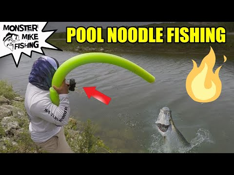 DIY POOL NOODLE Fishing Rod Challenge | Monster Mike