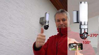 Lampe d'extérieur avec caméra IP connectée HD motorisée [PEARLTV.FR]