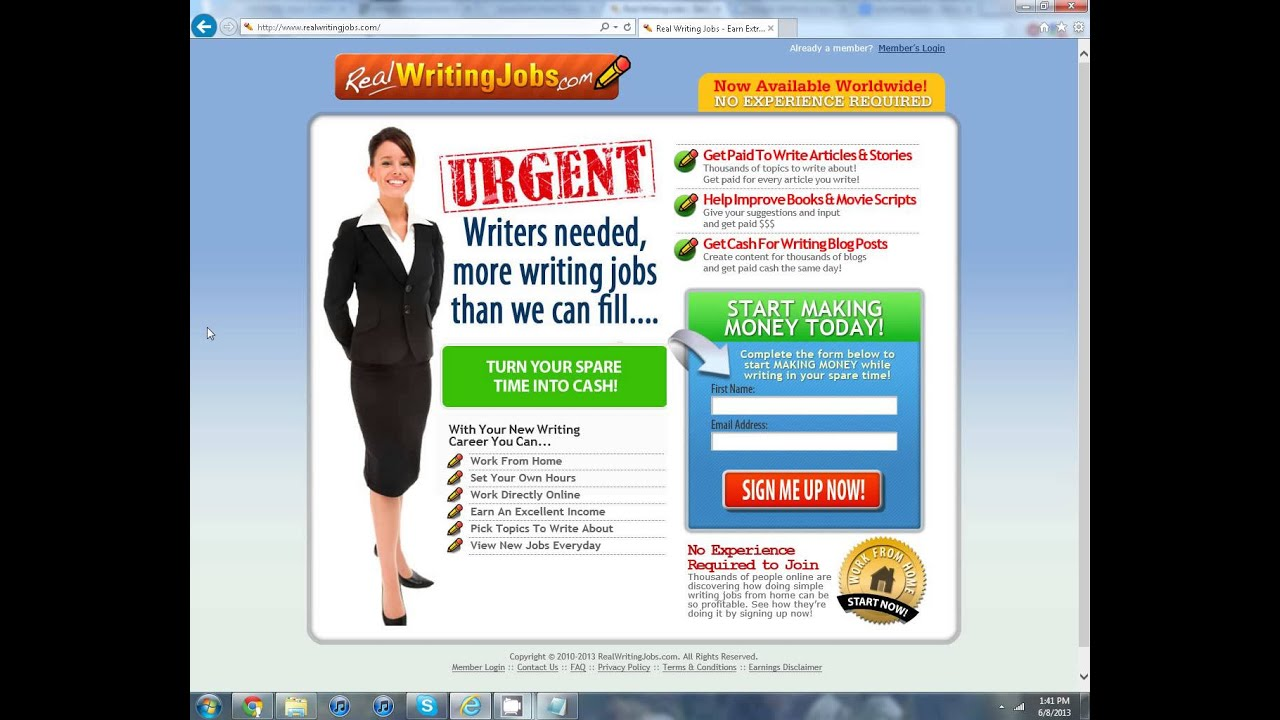 Writing jobs